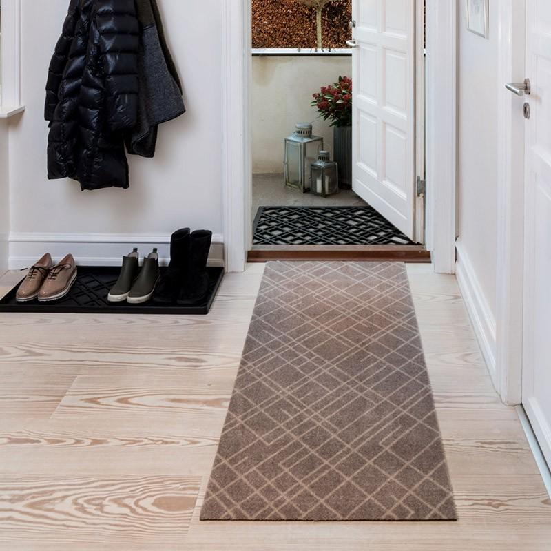 Tica Copenhagen Smudsmåtte m. Lines Sand/Beige 67x150cm.-31