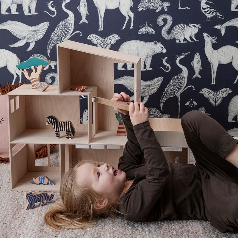 Ferm Living Tapet Katie Scott Animals Mørkeblå-31