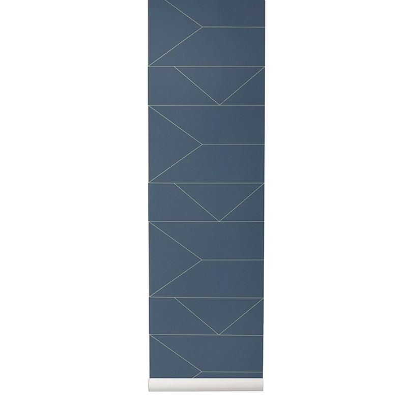 Ferm Living Tapet Lines Mørkeblå-31