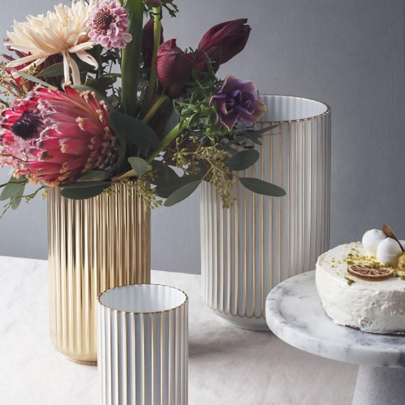 Lyngby Porcelæn Vase Guld Stribet 15 cm-31