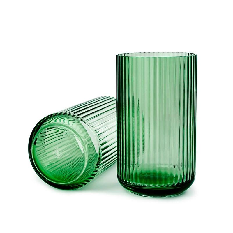 Lyngby Porcelæn Glas Vase Grøn 25 cm-31