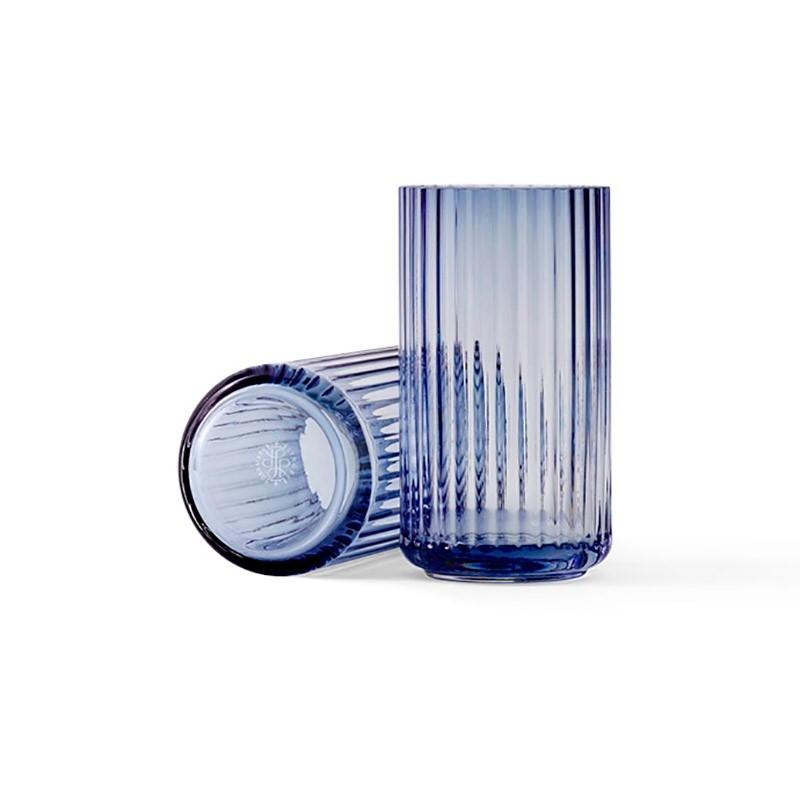 Lyngby Porcelæn Glas Vase Blå 15 cm-31