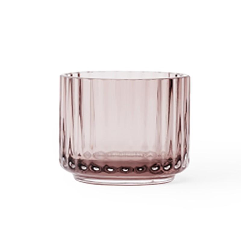 Lyngby Porcelæn Glas Fyrfadsstage Burgundy-31