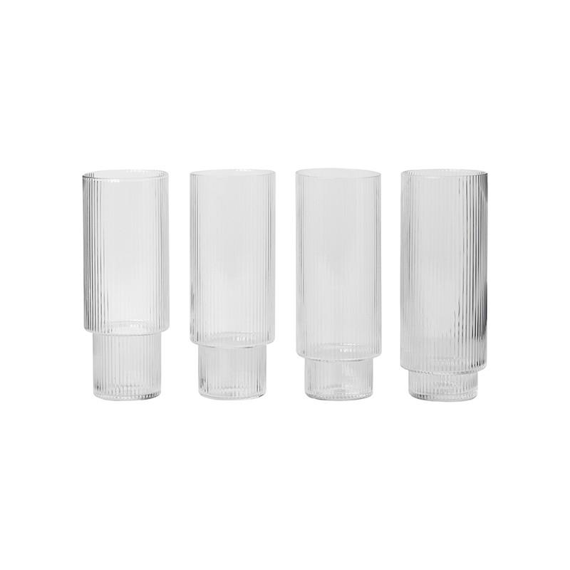 Ferm Living Ripple Long Drink Glas Klar 4 stk.-31