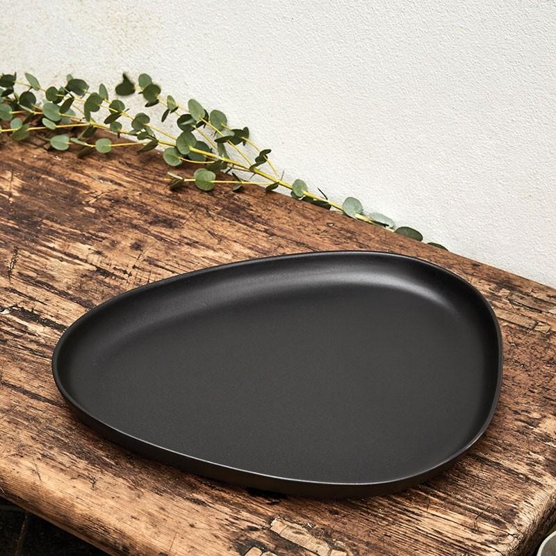 LindDNA Curve Stoneware Platte Sort-31