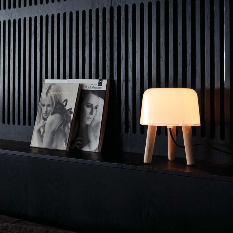 andtradition Milk Lampe Smoked Ask/Hvid Glas m. Sort stofledning-31
