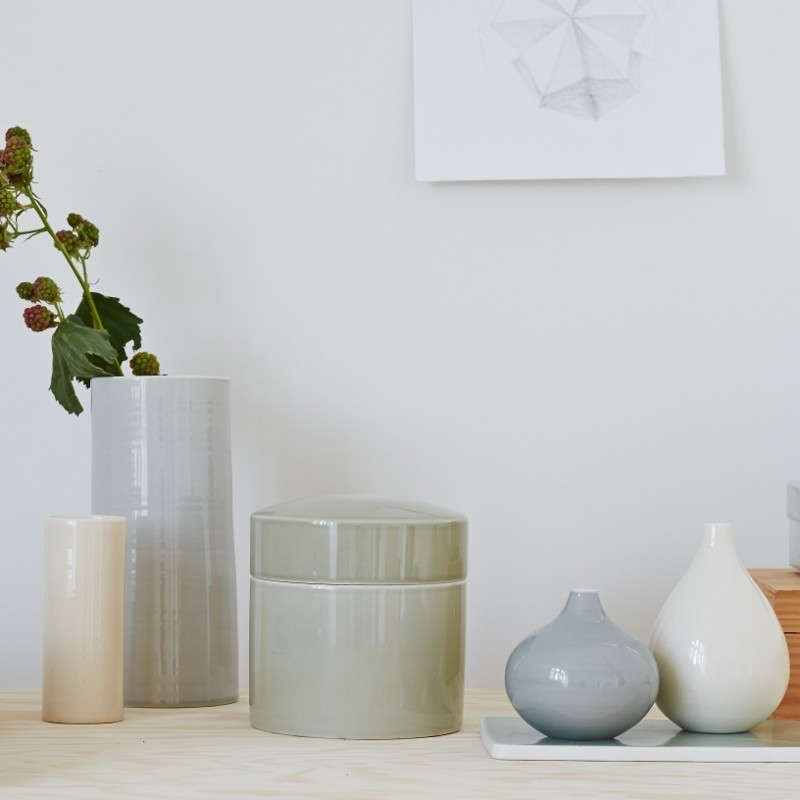 Anne Black Contain Vase Low Creme-31