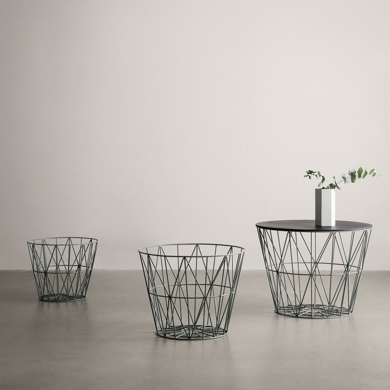 ferm-living-wire-basket-small-dusty-green - DesignMe