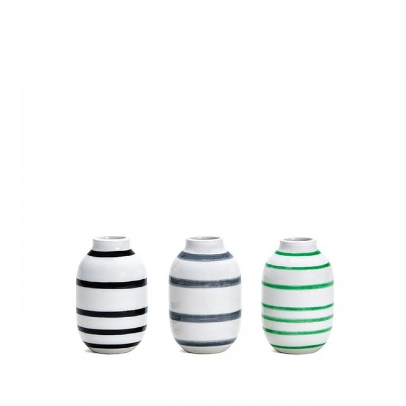 Kähler Omaggio Vaser 3-pak H80 Sort, Granitgrå, Grøn-31