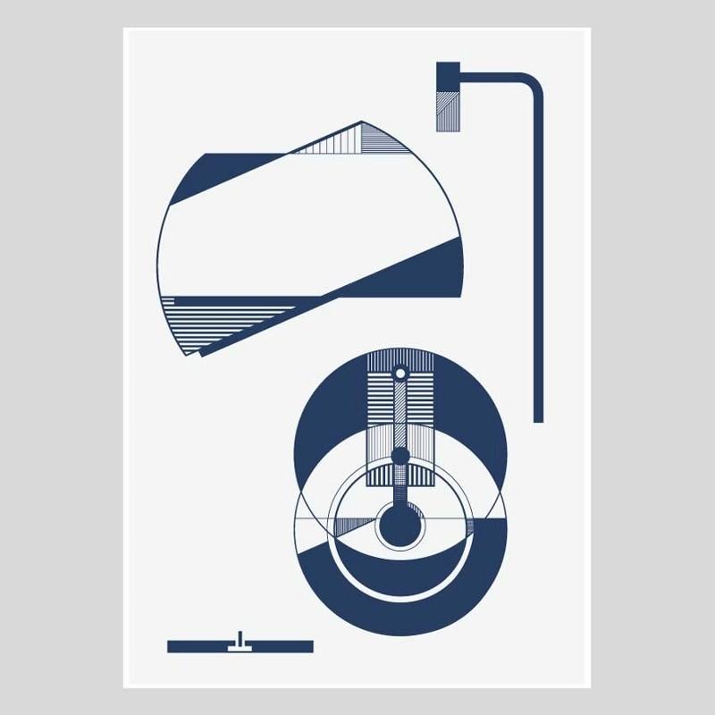 Kristina Dam Plakat Lamp Blue A4 inkl. Ramme-31