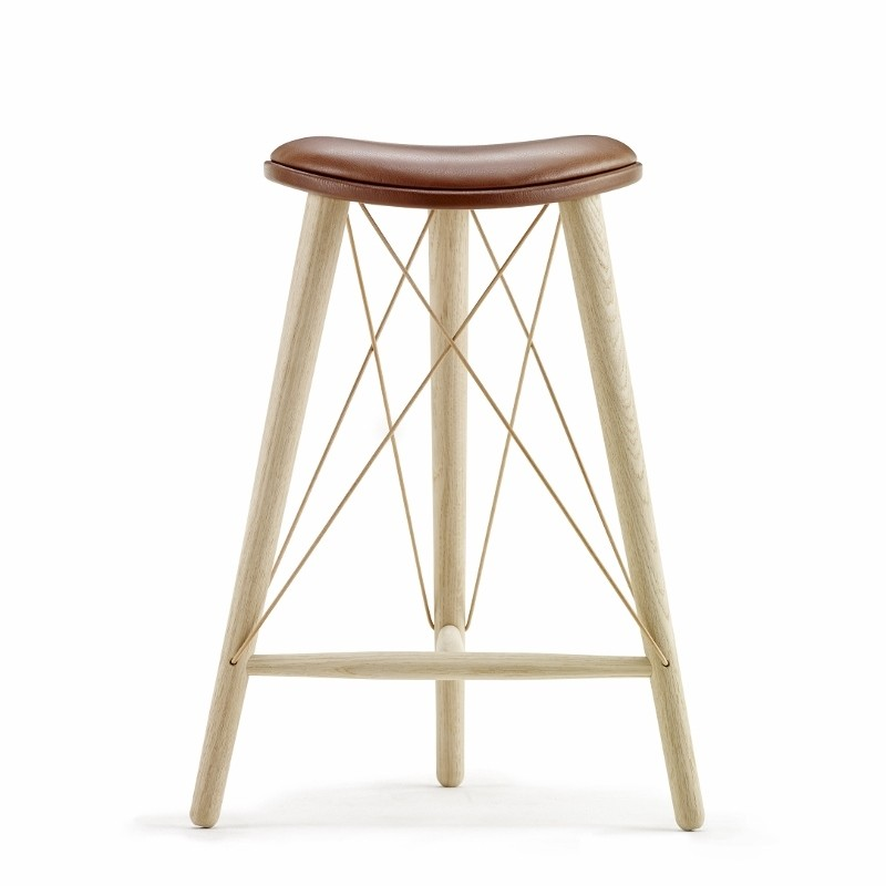 LoveWood Thule High Stool H66 Chestnut Læder/ Eg Natur-31