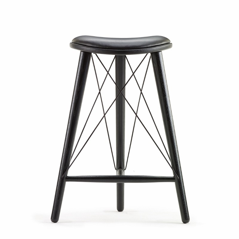 LoveWood Thule High Stool H74 Sort Læder/Sort Eg-31