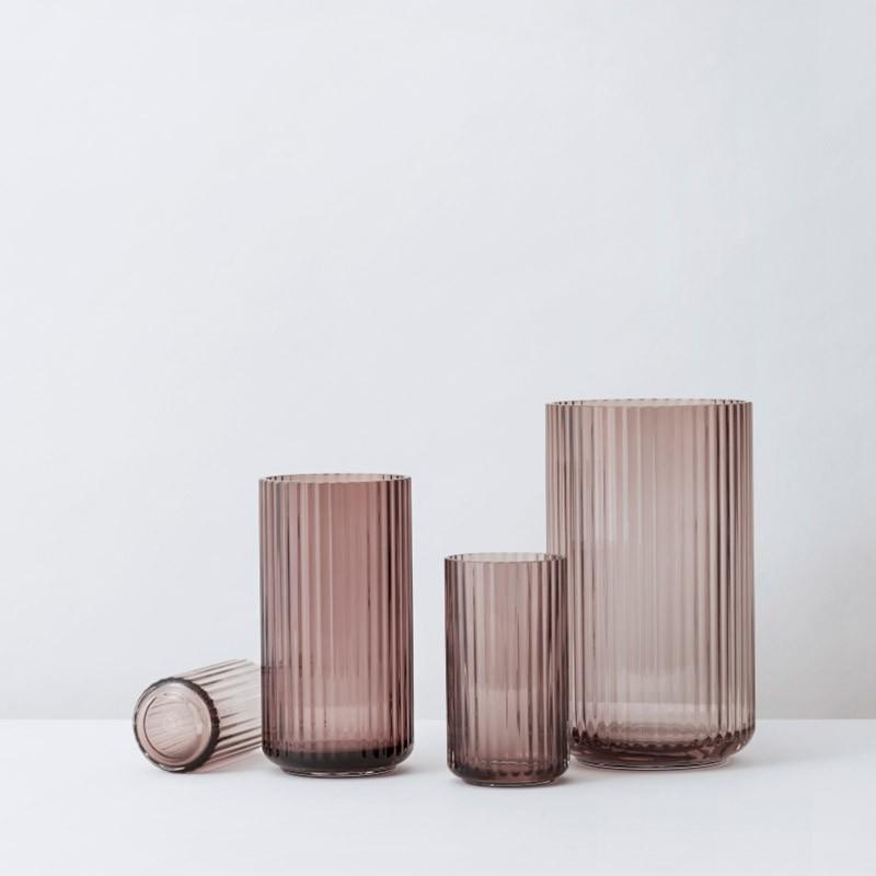 Lyngby Porcelæn Glas Vase Burgundy 15 cm-31