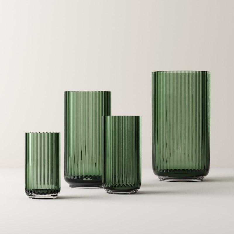 Lyngby Porcelæn Glas Vase Grøn 12 cm-31