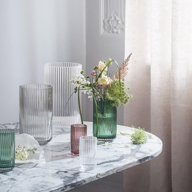 Lyngby Porcelæn Glas Vase Grøn 20 cm-31