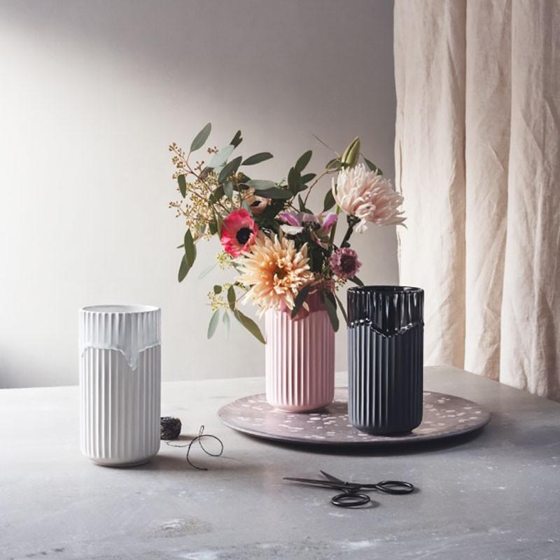 Lyngby Porcelæn Vase Sort Med Løbeglasur 20 cm-31