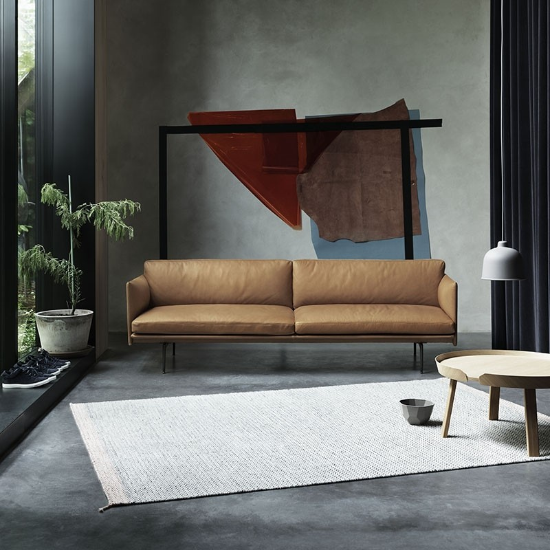 Muuto Outline 2. Pers. Sofa Sort Silke Læder-31