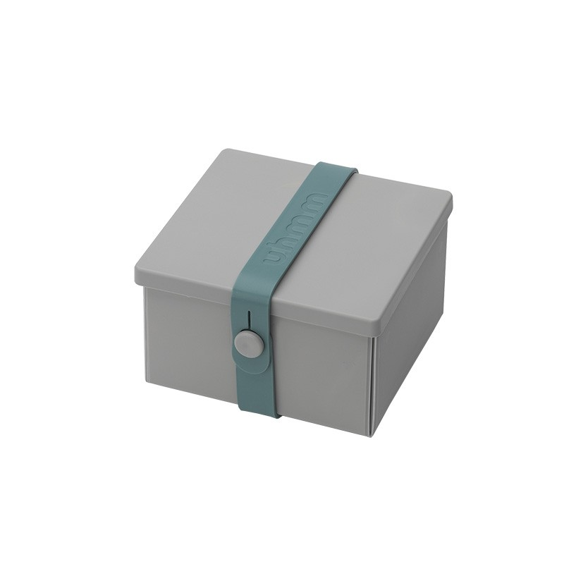 Uhmm Box No. 02 Light Grey Box/Petrol Strap 10x12 cm.-31