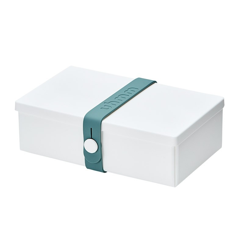 Uhmm Box No. 01 White Box/Petrol Strap 10x18 cm.-31