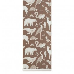 Ferm Living Tapet Katie Scott Animals Toffee Brown-20