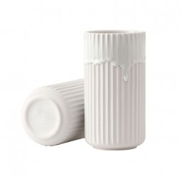 Lyngby Porcelæn Vase Hvid Med Løbeglasur 20 cm-20