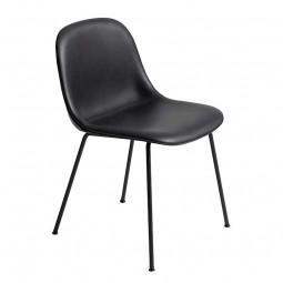 Muuto Fiber Side Chair Tube Base m. Læder Polstring-20