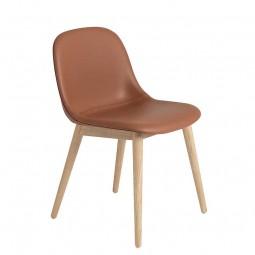 Muuto Fiber Side Chair Wood Base m. Læder polstring-20