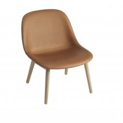 Muuto Fiber Lounge Chair Wood Base Læder Cognac-20