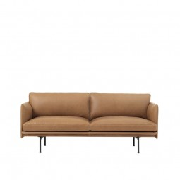 Muuto Outline 2. Pers. Sofa Cognac Silke Læder-20