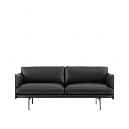 Muuto Outline 2. Pers. Sofa Sort Silke Læder-20