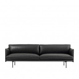 Muuto Outline 3. Pers. Sofa Sort Silke Læder-20