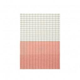 Normann Copenhagen Viskestykke Ren Stripe Grid Pale Green/Spicy Orange-20