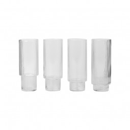 Ferm Living Ripple Long Drink Glas Klar 4 stk.-20