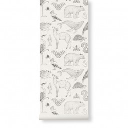 Ferm Living Tapet Katie Scott Animals Off-White-20