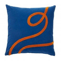 Hübsch Pude m. Orange Slangemønster 50x50 cm Blå/Orange-20