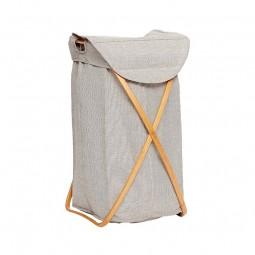 Hübsch Vasketøjskurv i Bambus/Stof Grå-20