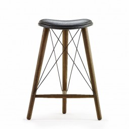 LoveWood Thule High Stool H66 Sort Læder/Røget Eg-20