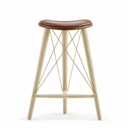 LoveWood Thule High Stool H66 Chestnut Læder/ Eg Natur-20