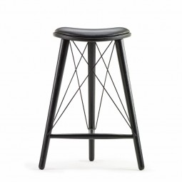 LoveWood Thule High Stool H66 Mørk Mocca Anilin Læder/Sort Eg-20