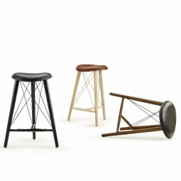 LoveWood Thule High Stool H74 Chestnut Læder/ Eg Natur-20